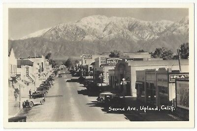 1930's Upland, California - REAL PHOTO Main Street San Bernardino Co.