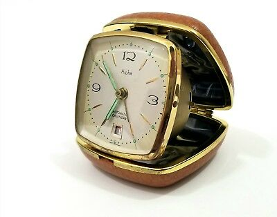 Vintage Alpha Travel Folding Alarm Clock in Working Order (Made in Germany)