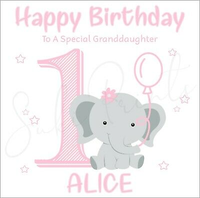 Personalised 1st Birthday Card Daughter Sister Niece Granddaughter Pink Elephant