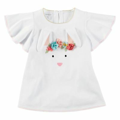 NEW Mud Pie Toddler Girl Easter Bunny Flower Crown Tunic Top 12/18 M 2T/3T 4T/5T