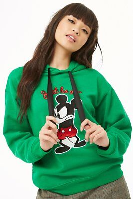 bf7ea9c089a226 FOREVER 21 Disney Green Black Mickey Mouse Graphic Drawstring Hoodie S M L