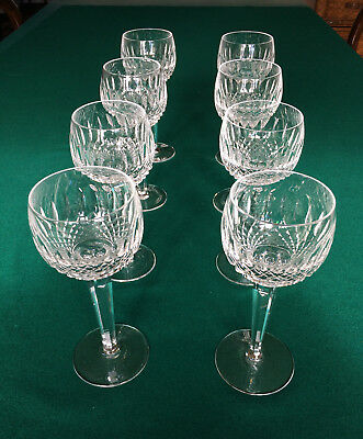 WATERFORD Colleen x 8 cut lead crystal hock glasses oversized wine water glasses