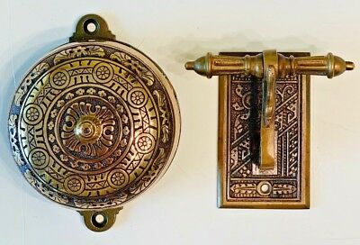 Victorian 1879 Double Strike Brass Doorbell And Lever