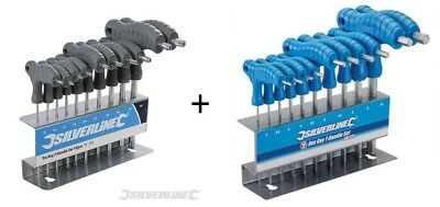 Lot 10 Cle Male 6 Pans 2-10 Mm + 10 Cle Male Torx T 9-50 Poignee En T + Support