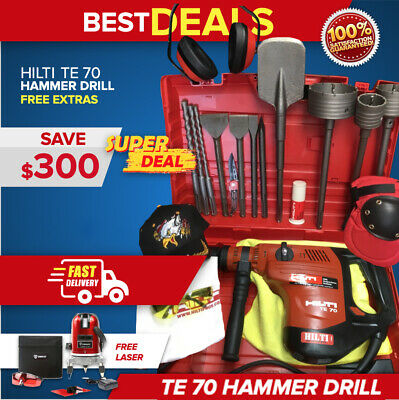 Hilti Te 70 Hammer Drill, Preowned, Free Rotating Laser,Bits, Chisels, Fast Ship