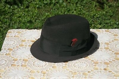 2949f13123a06 VINTAGE KNOX NEW York Black Felt Fedora Hat with Feather Size 7 ...