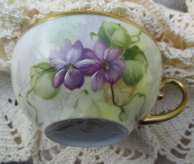 Imperial PSL Austria Hand Painted Empire II Floral Violets Cup & Saucer