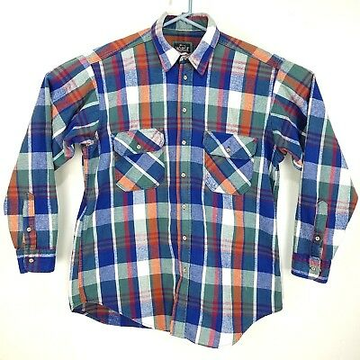 Vintage Men's Woolrich Shirt Work 100% cotton Plaid Outdoors Large Great colors