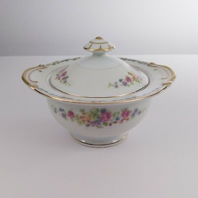 """Imperial SUGAR BOWL WITH LID China Japan IMP8 Scroll Edge Floral Ceramic 6"""" Chip"""