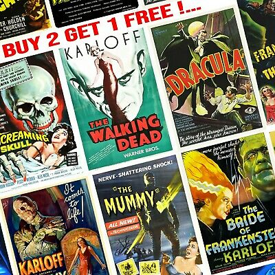 Vintage Popular Retro Horror Movie Posters Wall Art Prints A4/A3 - Choice of 8