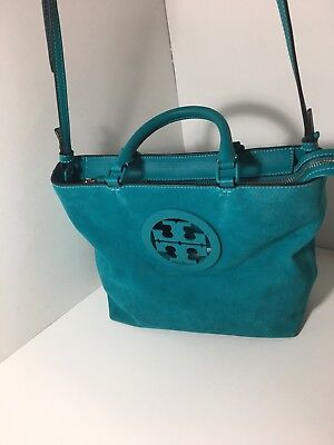 d621ed8627d Tory Burch  Charlie  Small Suede Tote Handbag Turquoise Crossbody Purse Blue