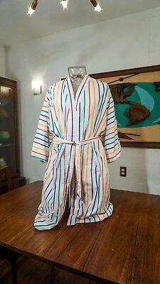 Vintage RAINBOW TERRY CLOTH ROBE 80's New wave Bright Bloomingdale Cabana style