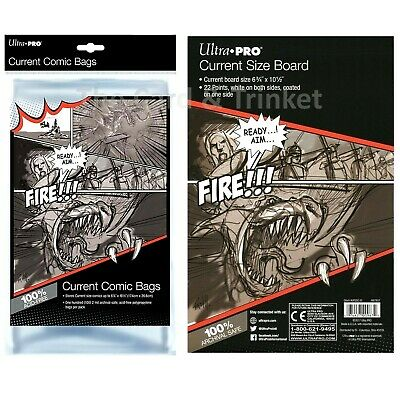 Ultra PRO 100 x Current Size Comic Bags + 100 Backing Boards Bundle 174 x 266mm