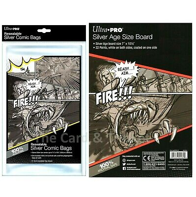 COMIC COMBO Ultra PRO 100 x Resealable Silver Size Bags + 100 x Backing Boards