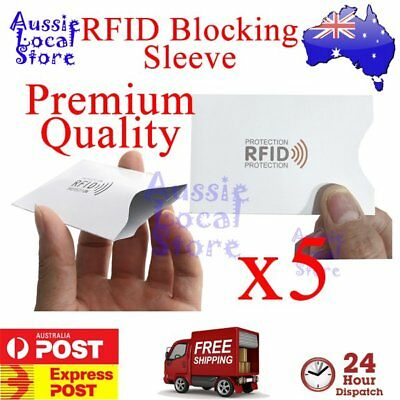 RFID Blocking Sleeve Secure Credit Card ID Protector Anti Scan Premium 5pcs