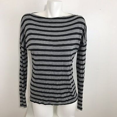 b71998d219098 Vince Womens Long Sleeve Gray Striped Tunic Top Boat Neck Size L Dolman  Sleeve
