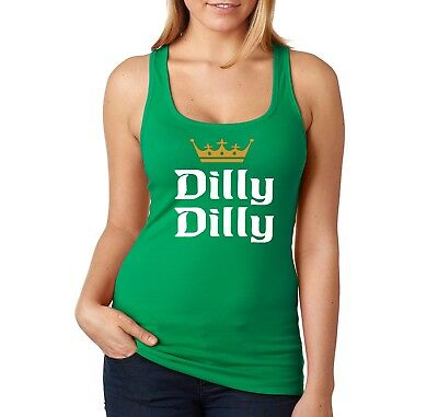 2ceca852b38d2 Womens Dilly Dilly St. Patricks Day Drink Shamrock Clover Beer Racerback  Tanktop
