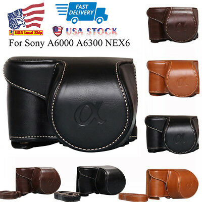 USA Stock PU Leather Camera Bag Case Cover Pouch For Sony A6000 A6300 NEX6 Hot!!
