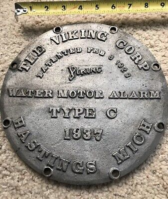 Vintage THE VIKING CORP WATER MOTOR ALARM TYPE C 1937 HASTINGS, MICH Cover Plate