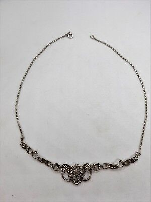 Vintage Marcasite necklace lavaliere sterling silver by Hawke 1930s gorgeous