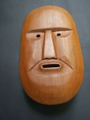 Vintage  Japanese Wooden  Hand Carved Wall Mask Rare Primitive Art