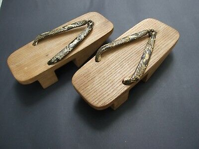 Vintage Japanese Geisha Wooden Clubs W Snakeskin Straps Collectables
