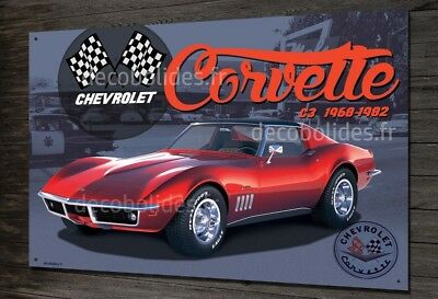 Plaque métal 40x30cm Chevrolet Corvette C3 V8 collection metal sign