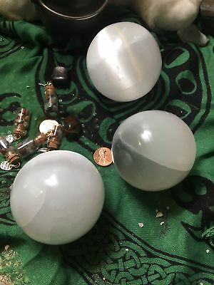 Large Cat's Eye Selenite Spheres with Plastic Stand