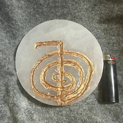 Selenite Large Reiki Charging Plate With Cho-Ku-Rei Usui Reiki Symbol Carved & G