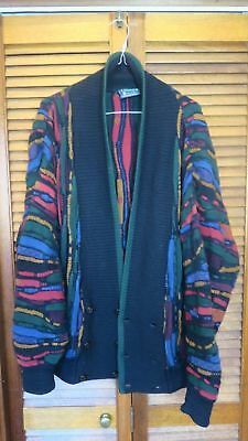 Vtg Limnos Coogi Style Woven Wool Cardigan Cosby Sweater Biggie Styles Medium