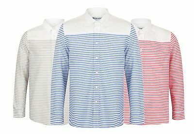 Mens Long Sleeve Shirt Striped Formal Cotton Blend Collar New M L XL Ex Store