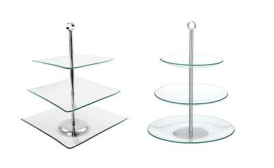 3 Tier Glass Cake Food Stand Display Round Or Square Wedding Display Platter