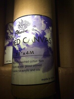 """Canvas 2 Rolls 32"""" x 4m double primed 380gsm New Unused"""