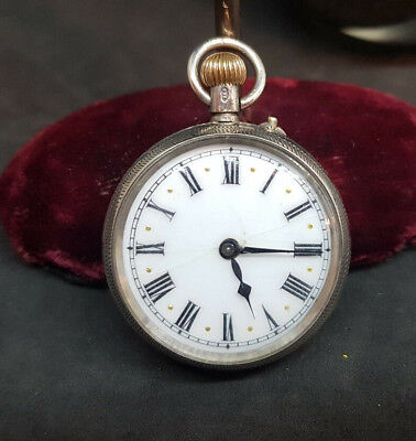 Antique 925 Solid Silver Lever Fob Pocket Watch Ladies