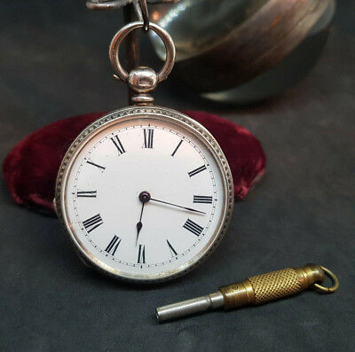 Antique Solid Silver Lever Fob Pocket Watch Ladies & Key