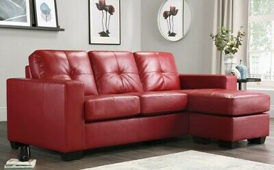 RIO RED LEATHER Corner Sofas Group Settee Unit