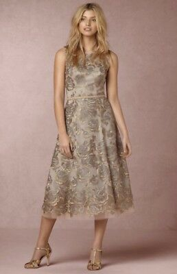 d272fed5523f NWT Hitherto gray gold Metallic Embroidery Flower Formal Dress bought at  BHLDN 4