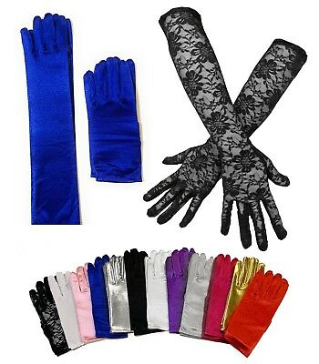 Ladies Short Wrist Gloves / Long Thin Satin Magician Party Dress Prom Wedding