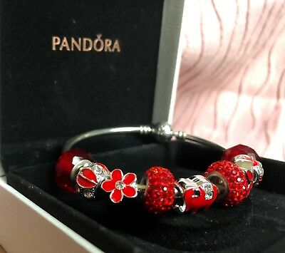 Authentic Pandora Bracelet Silver With VALENTINE LOVE RED WHITE European Charms