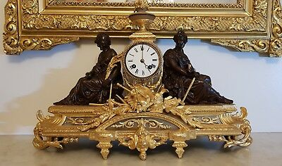 Large Antique French Gilt Mantle Clock 8 Day