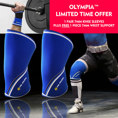 4720ddd224 Knee Sleeves PAIR Patella Brace Wrist Wrap Support Sbd Gym Weight Lifting  Blue