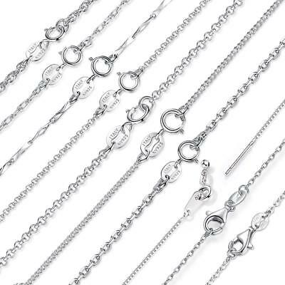 Classic Chain 925 Sterling Silver Lobster Clasp Necklace Chain 45 CM ITALY
