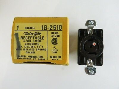 New Hubbell Ig-2510 Twist Lock Receptacle 4 Pole 5 Wire 20A Ig2510 Ig 2510