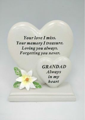 Memorial Graveside Grandad Double Heart With Verse Ornament Funeral Rip Marker