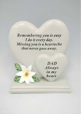 Memorial Graveside Dad Double Heart With Verse Ornament Funeral Father Rip Grave