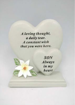Memorial Graveside Son Double Heart With Verse Ornament Funeral Rip Grave Marker