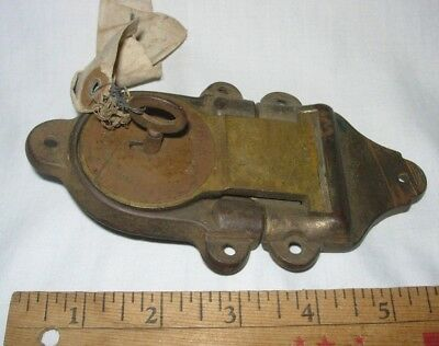 Antique Vintage Eagle Lock Co Brass And Iron Steamer Trunk Latch Lock With Key