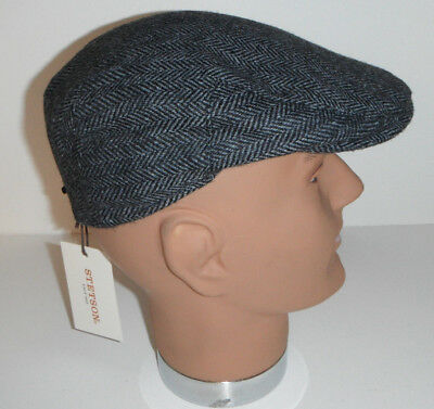 87d4bef375b STETSON wool blend herringbone DRIVING golf CABBIE Cap Hat GRAY medium New !