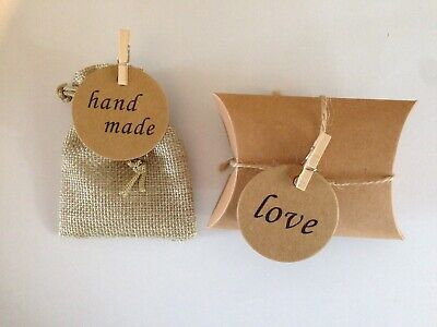 Small Burlap Jute Hessian Wedding Favour Gift Bags pillow sweet boxes tags pegs