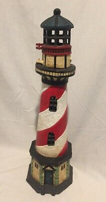 """LARGE 17"""" RARE ANTIQUE LIGHTHOUSE CAST IRON DOORSTOP candle holder Cape Hatteras"""
